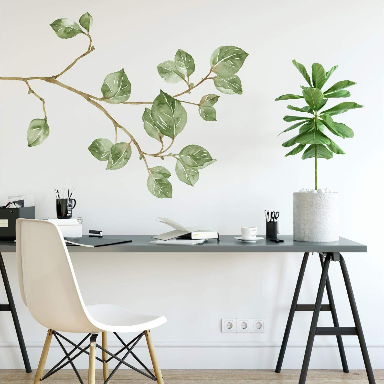 Vinilo Decorativo Pared [7PD82ZF5] ramas de hojas