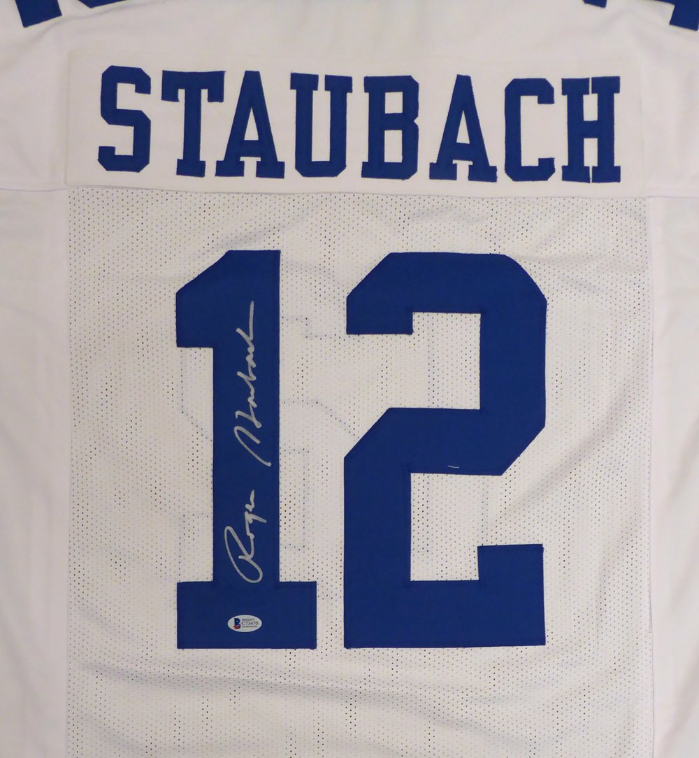 DALLAS COWBOYS ROGER STAUBACH AUTOGRAPHED WHITE JERSEY BECKETT BAS STOCK #126241