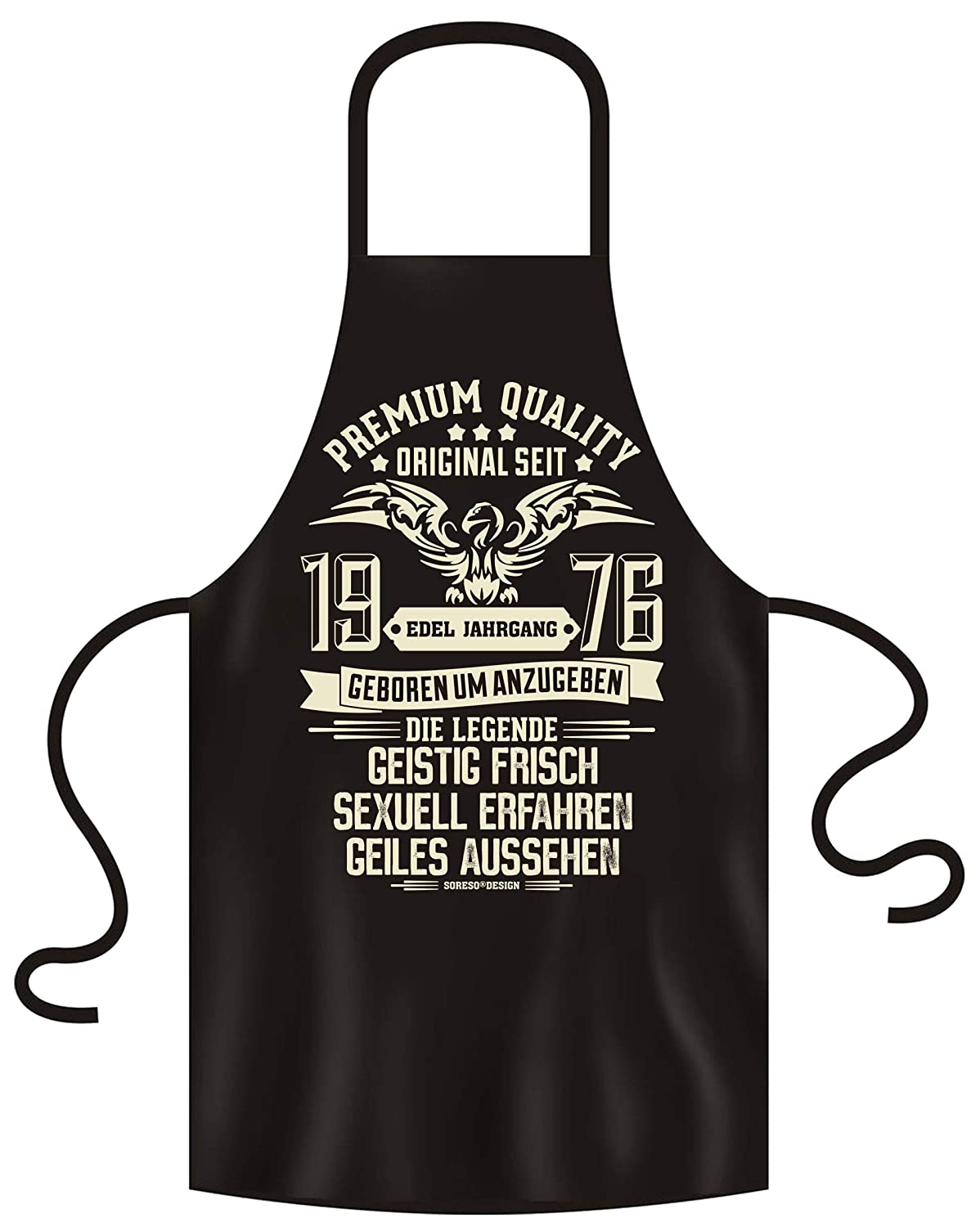 Soreso Design Apron BBQ Apron with Funny Slogan Elegant Vintage Black - Birthday Gift for Women and Men Set with Certificate