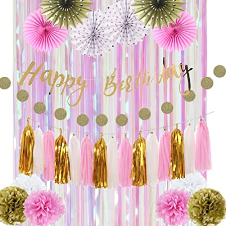 decoration cumpleaños Kit niña rosa oro Happy Birthday ...