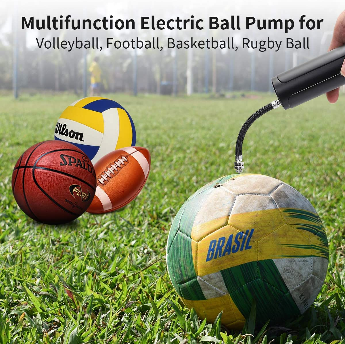 Automatic Fast Air Pump for Inflatables Soccer Multifunctional Ball Pump for Athletic Basketball Football and Rugby Ball Keenstone Electric Ball Pump with Needle Volleyball