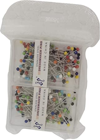 White and Black 200 Pieces Sewing Pins Ball Glass Head Pins Straight Quilting Pins,Long 1.25-Inch//32-mm for Dressmaker Jewelry Decoration.