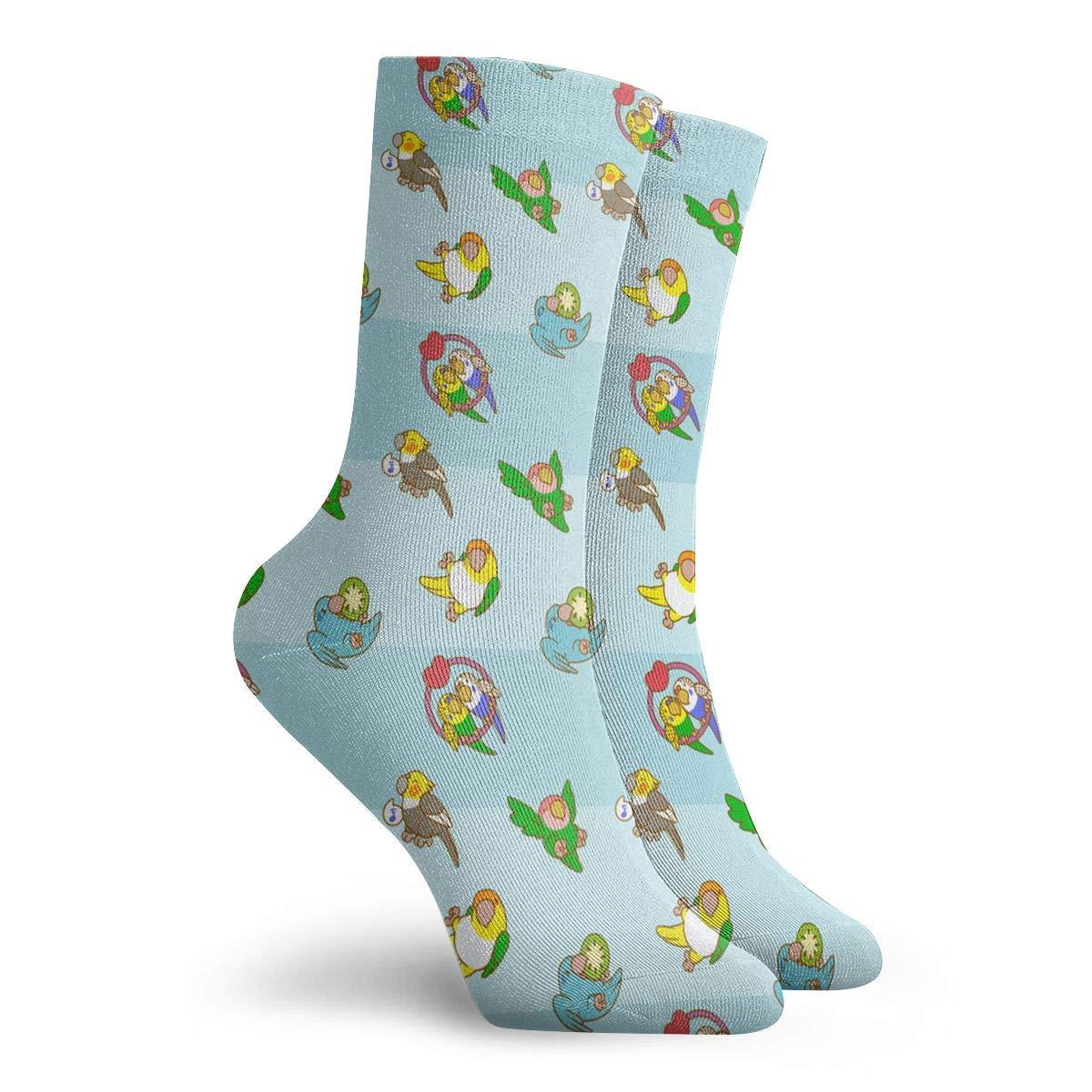 Cute Cartoon Parrots Pattern Unisex Funny Casual Crew Socks Athletic Socks For Boys Girls Kids Teenagers