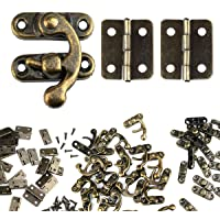 60 PCS Antique Mini Hinges and 30 Sets Bronze Tone Right Latch Hook Hasp with Screws for Wood Jewelry Box