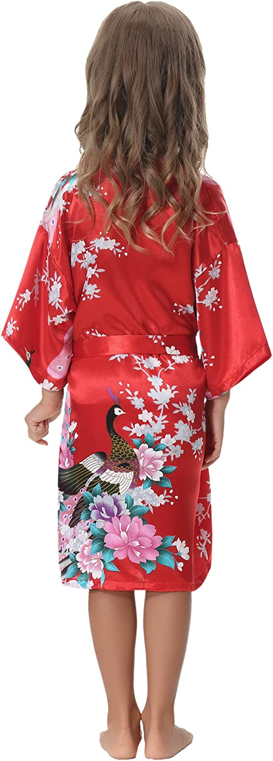 Aibrou Girls Peacock Satin Kimono Robe Bathrobe Nightgown for Party Wedding