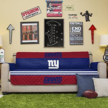 Delightful NFL New York Giants Sofa Couch Reversible Furniture Protector With Elastic  Straps, 75 Inches