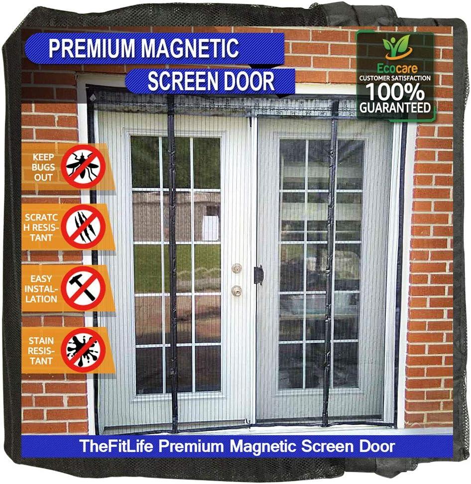 TheFitLife Cortina Mosquitera magnética para Puertas dobles - Malla con cierre de gancho y bucle e imanes potentes que cierran instantáneamente puertas grandes de patios de hasta 152x203cm máximo