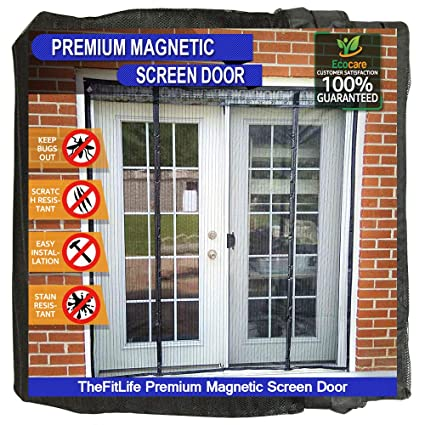 TheFitLife Double Door Magnetic Screen   Heavy Duty Mesh Curtain With Full  Frame Hook U0026 Loop