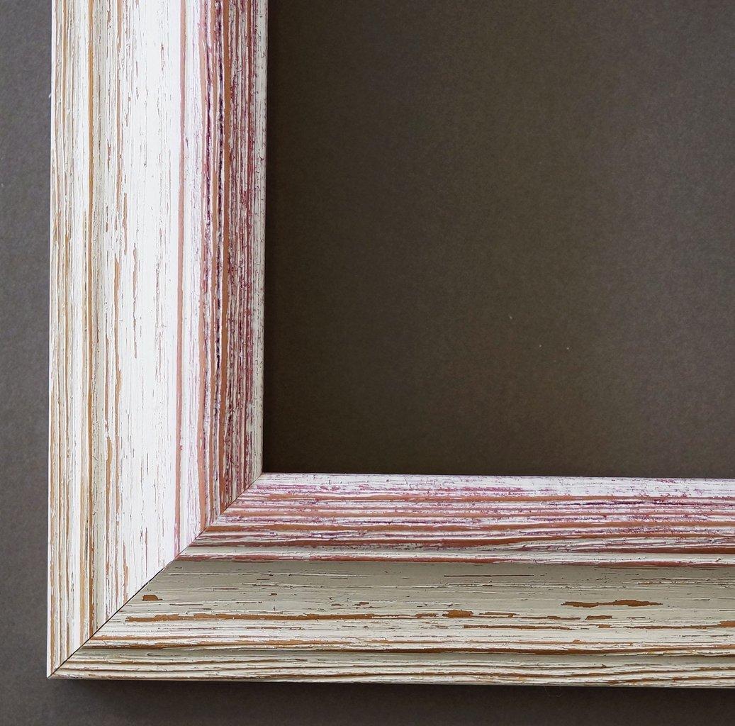 Bilderrahmen Beige Weiß Rot - 40 x 80 cm als Leerrahmen - Modern, Shabby, Landhaus - Alle Größen - Handgefertigt - Galerie-Qualität - LR - Bari 4,2