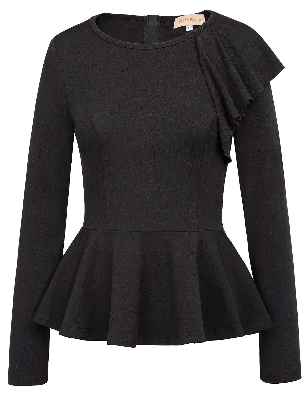 Kate Kasin Women's Side Ruffle Long Sleeve Cowl Neck Peplum Tops Shirt