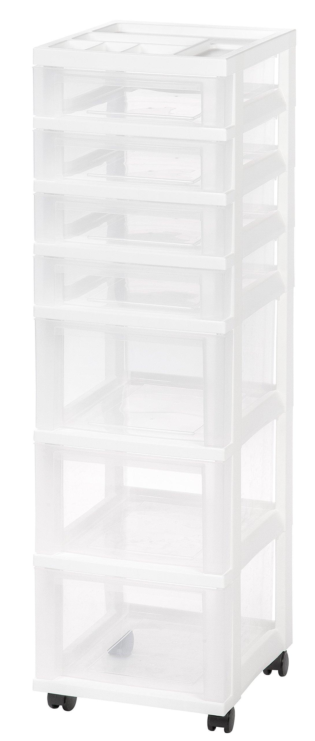 IRIS USA, Inc. IRIS Medium 7-Drawer Storage Cart W/Organizer, White