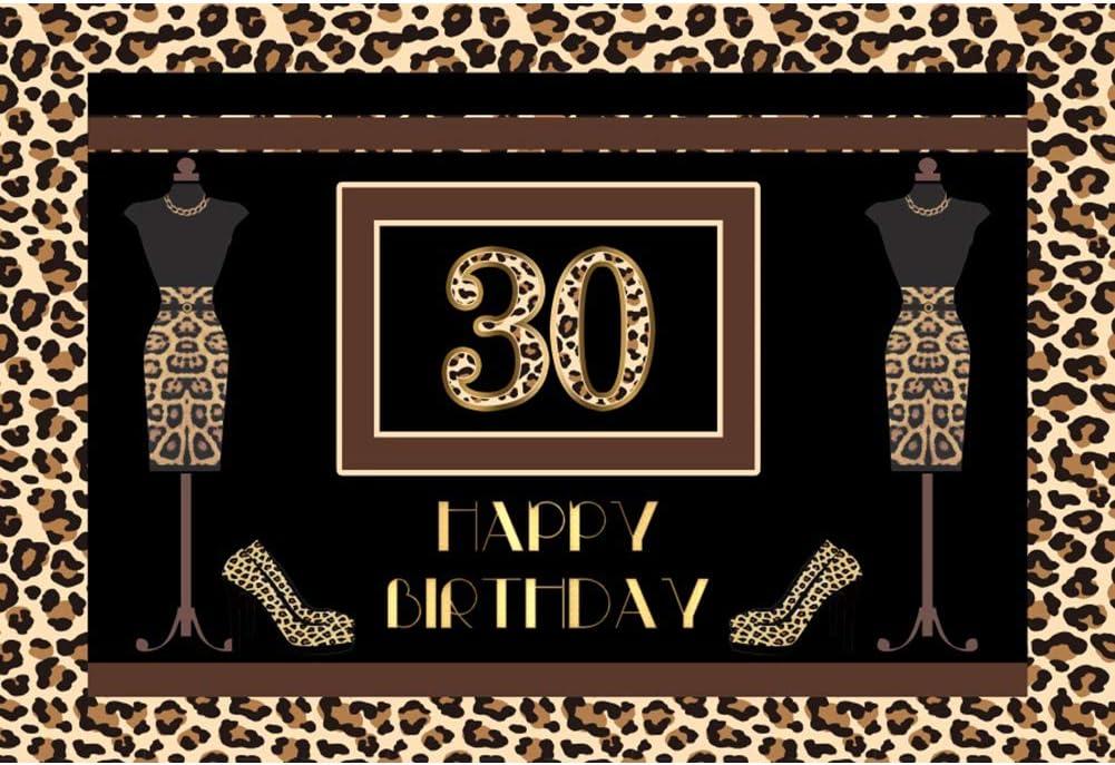 YongFoto 10x8ft Happy Birthday Backdrop Leopard Grain Dress Heels Photography Background Wedding Birthday Party Banner Interior Decor Lady Woman Portrait Photoshoot Studio Props Wallpaper