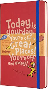 "Moleskine Limited Edition Dr. Seuss 18 Month 2019-2020 Weekly Planner, Hard Cover, Large (5"" x 8.25"") Red"