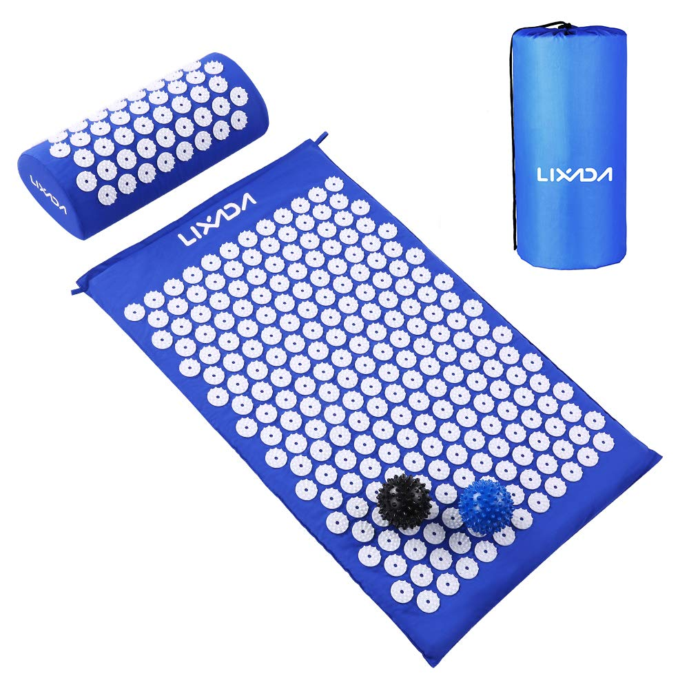 Lixada Acupressure Mat and Pillow Set with 2pcs Spiky Massage Balls for Back/Neck/Feet Pain Relief and Muscle Relaxation with Carry Bag