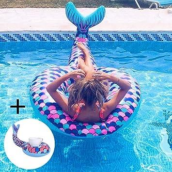 Lady of Luck Inflable Sirena, Gigante Sirena Flotador Anillo de Natación Hinchable Colchoneta Los Juguetes Acuáticos para Verano Piscina de Playa