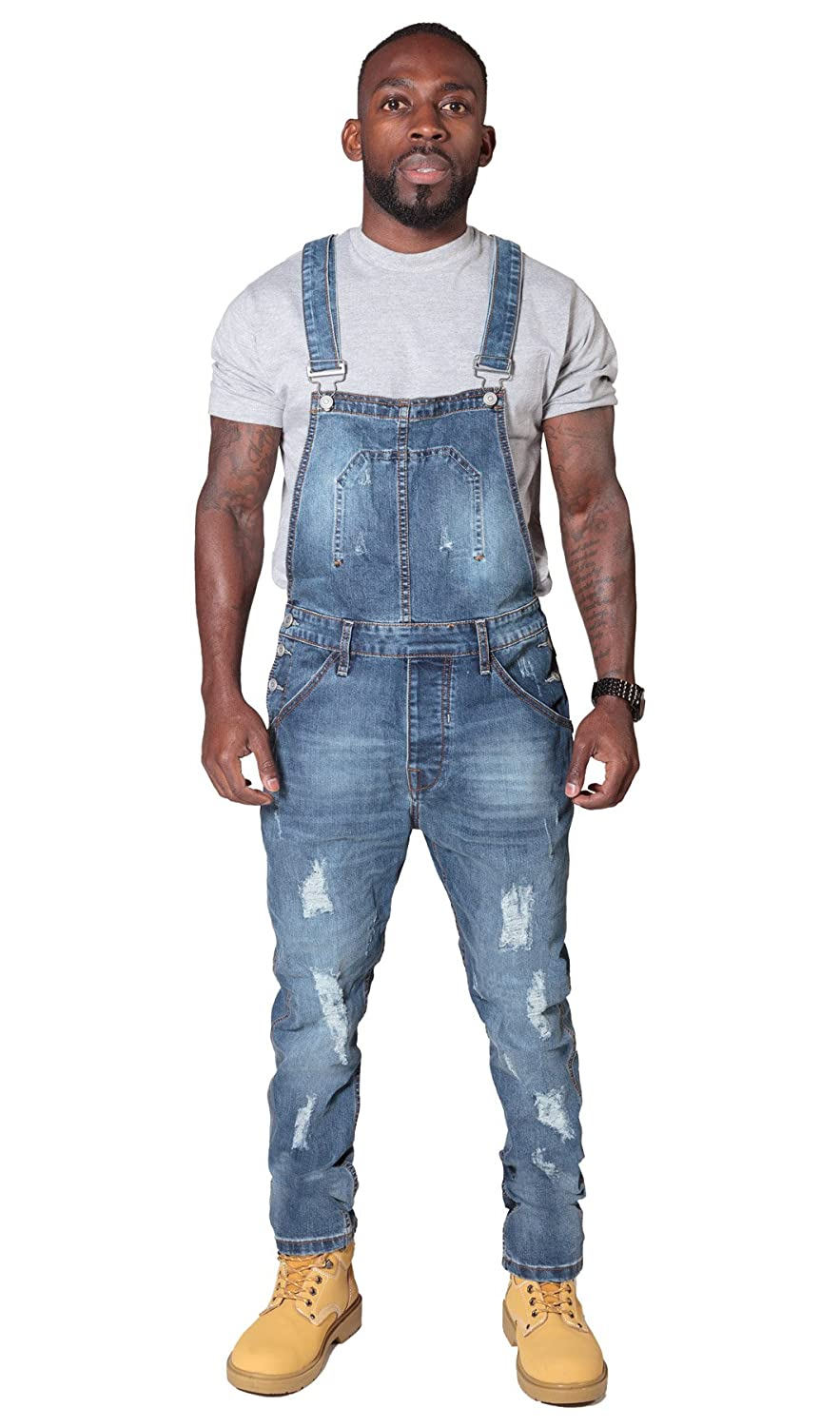 Slim Fit Mens Bib Overalls Pale Distressed Denim Bib Down Abrasion Ryujee