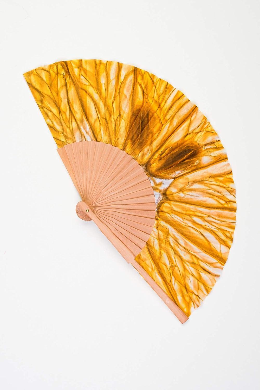 Abanico de madera y tela tacto seda de color amarillo limón artesano handmade en España CMenendez: Amazon.es: Handmade