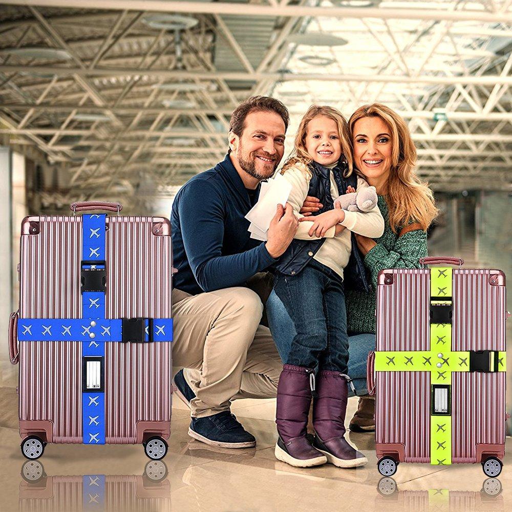 Sangle de Bagage Bleu solawill 4 Pcs Sangle Valise R/églable Sangle Crois/ée Voyage Accessoires pour S/écurit/é des valises Vert Fluorescent