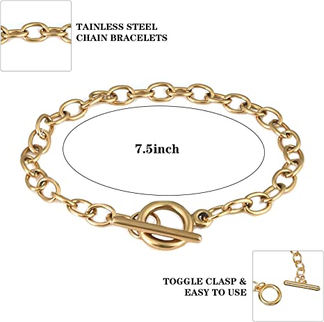 Veraing 18Pcs Chain Bracelets OT Toggle Clasps Bracelet Link Trendy Wrist Jewelry Making Connectors Exquisite Chain Bangle for Men Women Gift Silver/&Gold