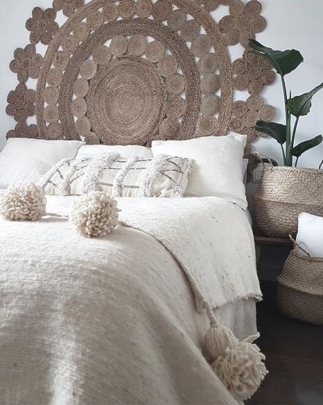 manta pompom lana hecha a mano en marruecos, decoración boho ...