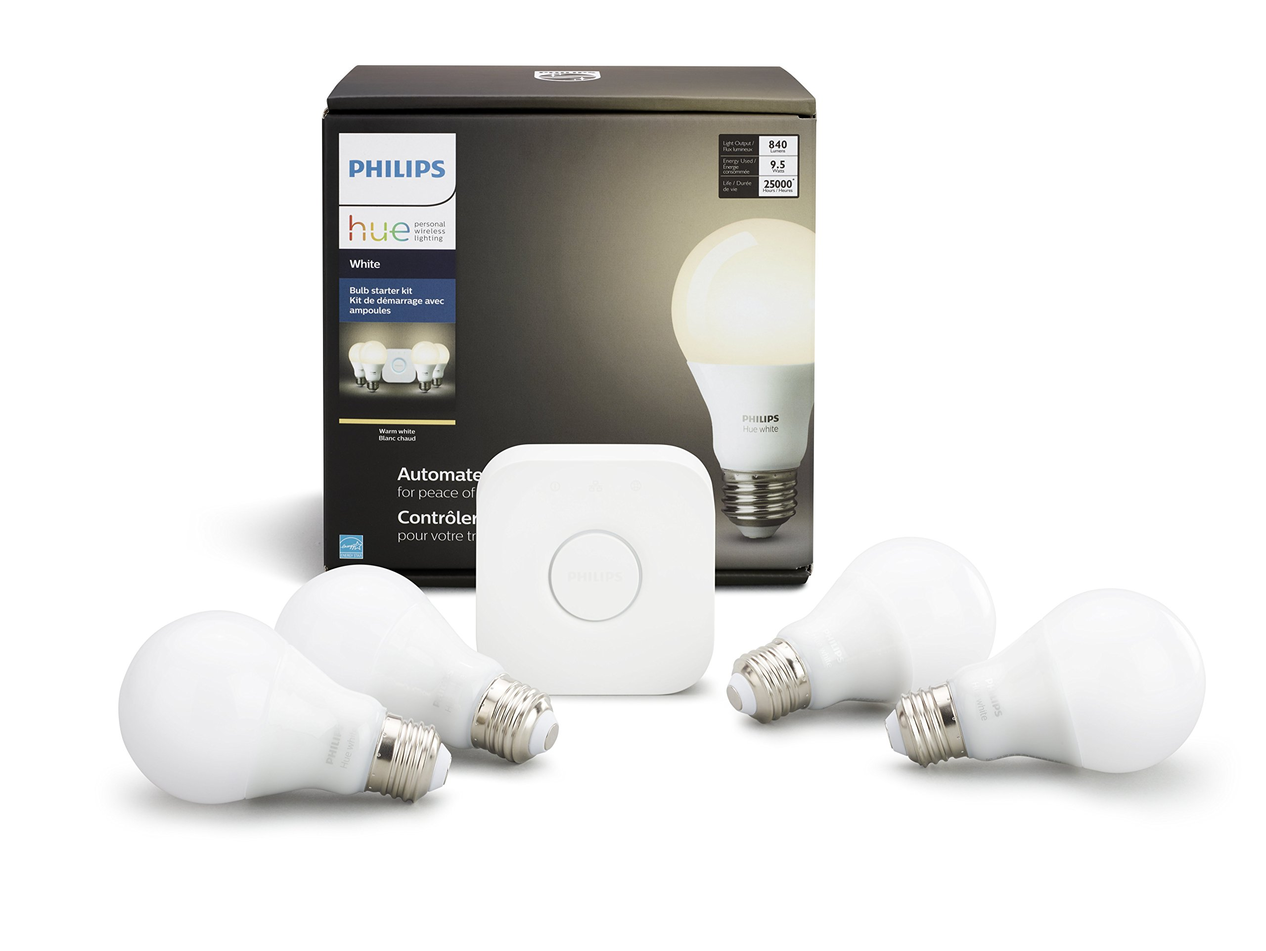 Hue White A19 Starter Kit (Compatible with Amazon Alexa, Apple Home Kit and Google Assistant) product image