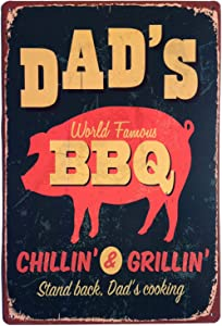 ERLOOD Dad's BBQ Stand Back Dad's Cooking Metal Vintage Tin Sign Wall Decor 12 x 8