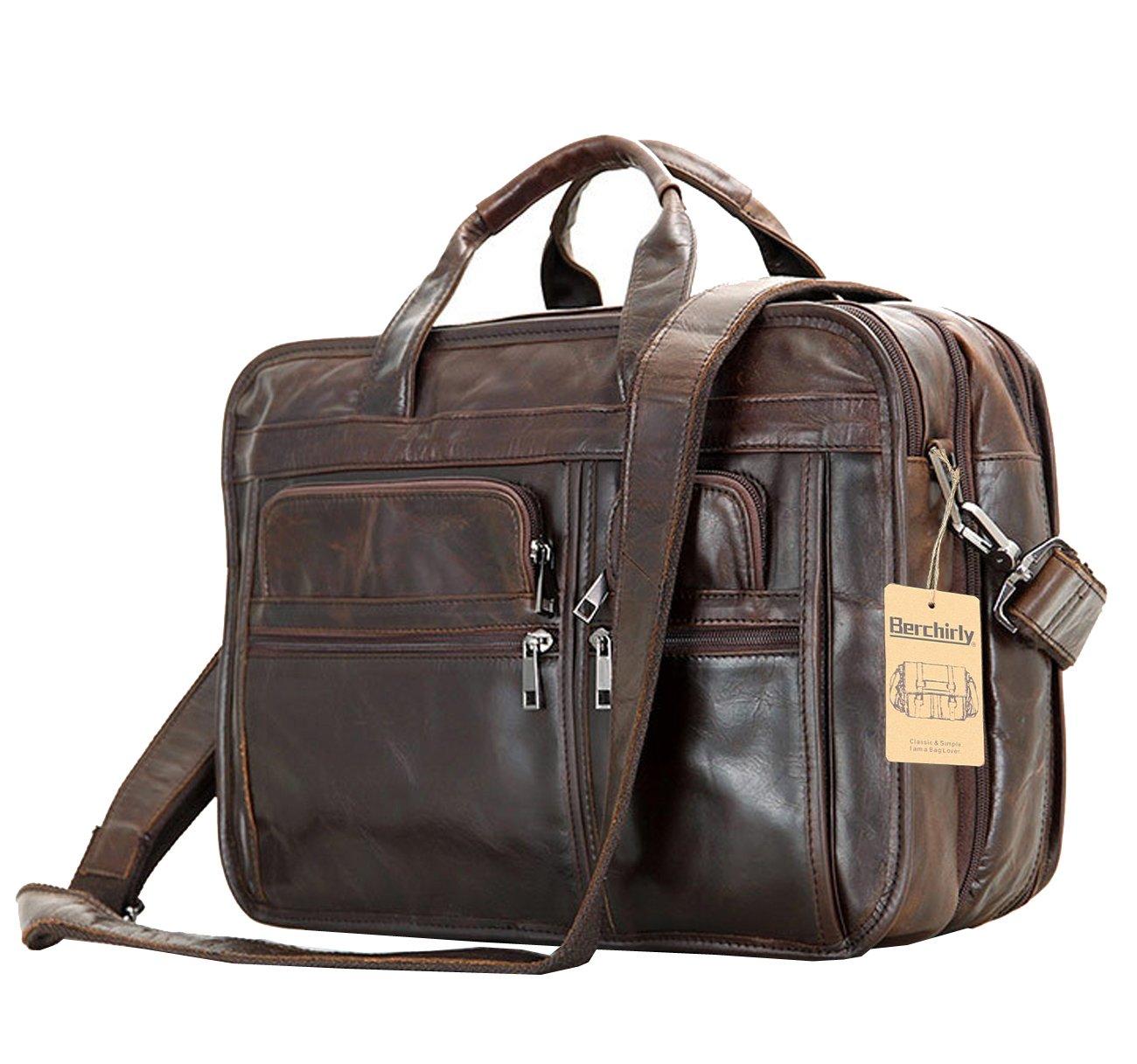 Leather Men Bag,Berchirly Genuine Leather 15.6inch Expandable Laptop Computer Business Briefcase Bags Cowhide Handbag Case