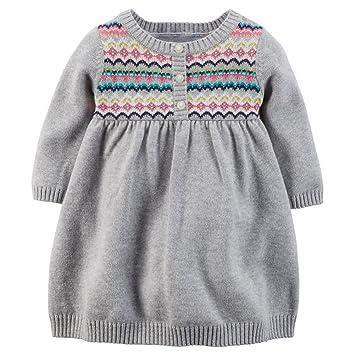 92d6ed969 Amazon.com: Carters Baby Girls' Fair Isle Knit Dress (6 Months, Grey ...