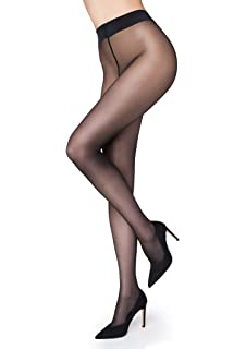 e8f937d0b8f Eedor Women s 1 Pack Silky Non-Control Top Sheer Pantyhose Black ...
