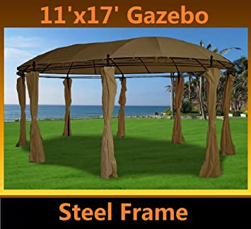 11x17 deluxe steel frame gazebo with sidewalls beige by delta canopies