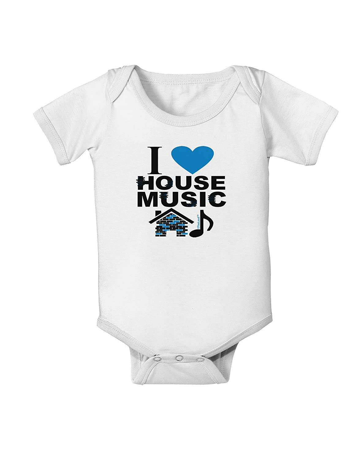 TooLoud I Love House Blue Baby Romper Bodysuit
