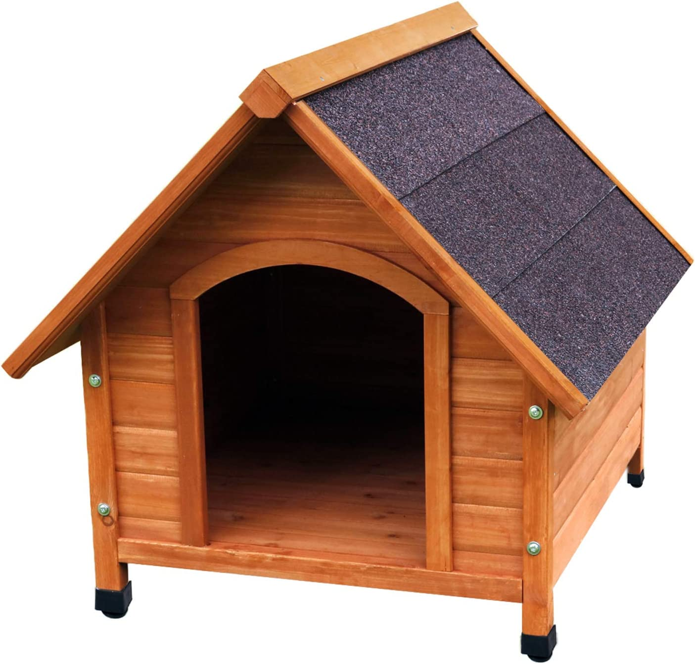 HiCaptain A-Frame Wooden Dog House Deluxe Natural Solid Cedar Pet Kennel