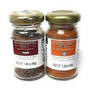 1 of Each, Sal De Gusano, Agave Worm Salt and Sal De Chapulin, Grasshopper Salt   Great Mezcal Salts and Oaxacan Seasonings.