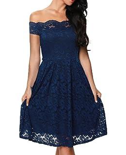TOUVIE Damen Elegant Abendkleid Cocktailkleid Schulterfreies Knielang  Festlich Kleider Spitzenkleid Schwarz Blau Rot Gr.36 0dec1bdb82