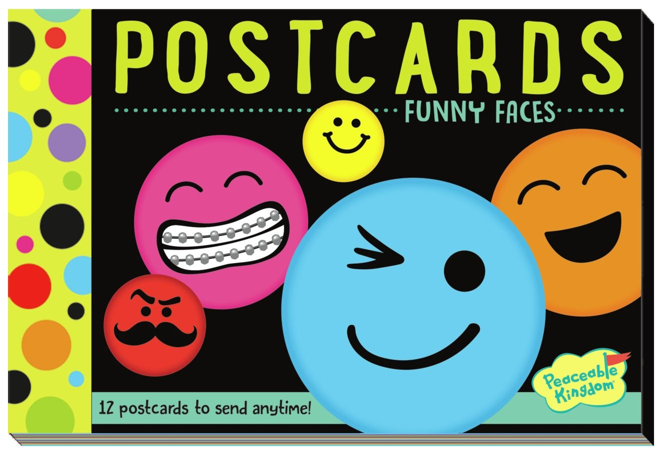 Peaceable Kingdom Funny Faces 12 Postcard Booklet Paper Office ...