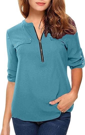 Blusas Mujer Escote V Blusa Manga Larga Camisas Señora Top Camisa De Gasa Larga Camiseras Oficina Elegantes Camisetas Cuello V Cremallera Chica Blusones Vestir Formales Fiesta Largas Anchas: Amazon.es: Ropa y accesorios