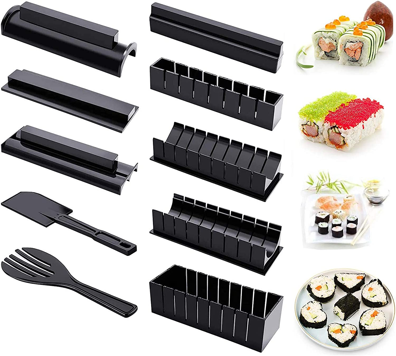 Sushi Making Kit, 10 Pieces DIY Plastic Sushi Maker Tool Set Complete with 8 Sushi Rice Roll Mold Shapes and 2 Fork, Home Kitchen Sushi Tool for Beginners, Black
