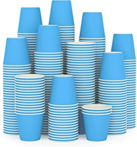 300Pack 3oz Disposable Paper Cups,Hot/Cold Beverage Drinking Cup,Small Blue Paper Cups for Bathroom and Mouthwash