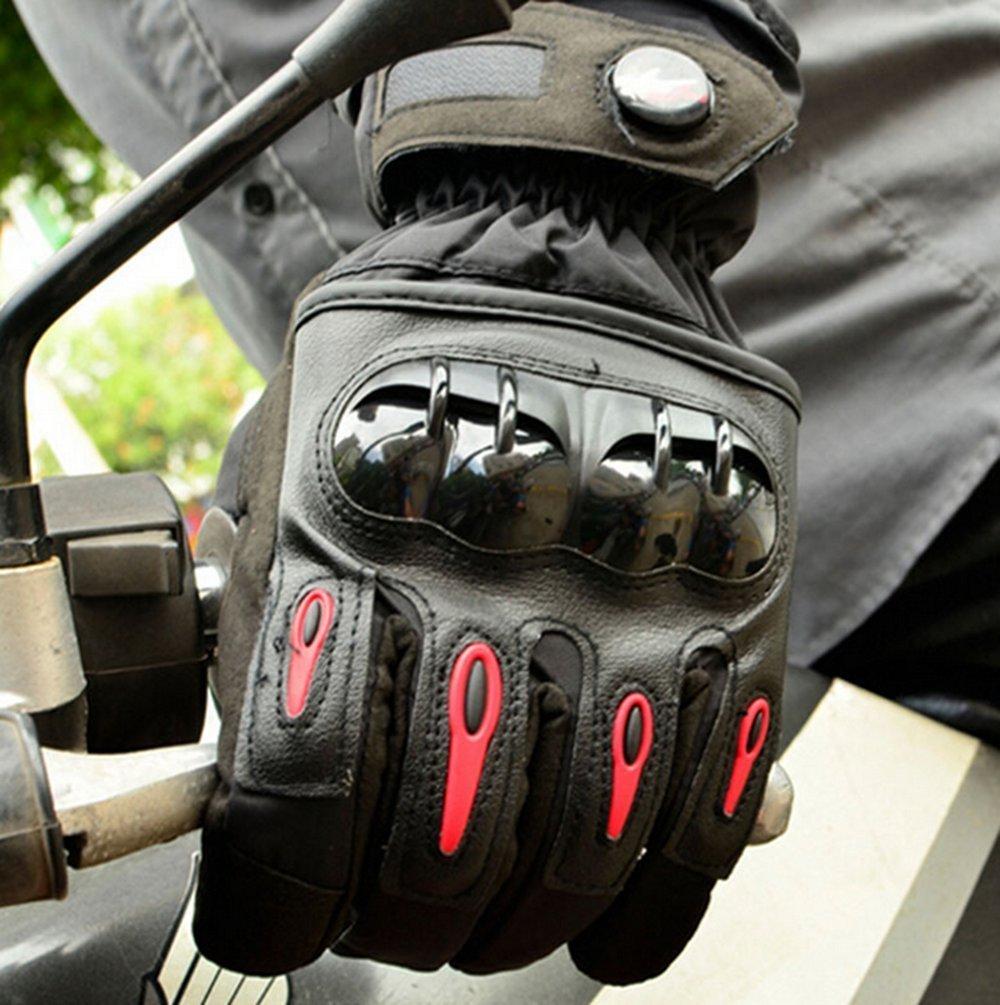 Bonnoeuvre Guanti Moto Impermeabili e Invernali XL, Nero Guanti Moto Full-dita per Moto Bici MTB e Altri Sport Completa Protezione Antiscivolo Touch Screen Tessuto su Pollice e Indice