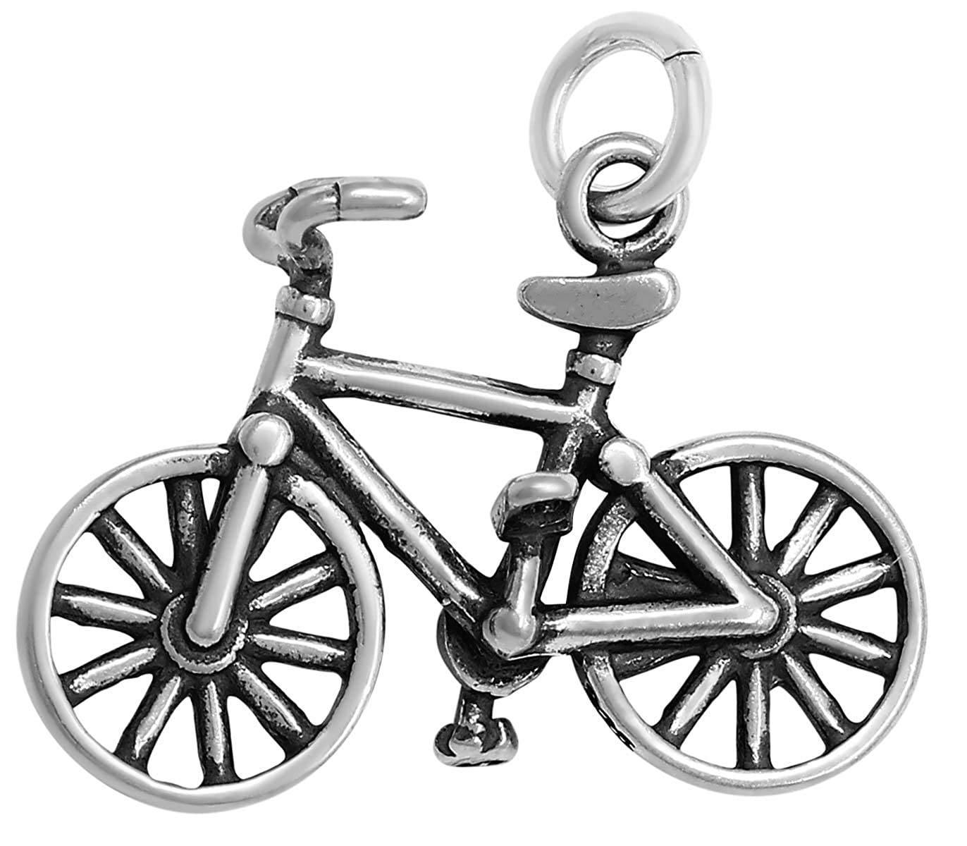 Raposa Elegance Sterling Silver 3D Bicycle Charm Necklace 16, 18 or 20 Chain
