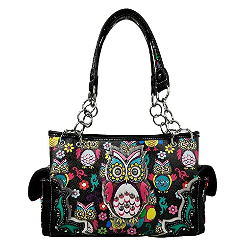 eba704c0f5 La Dearchuu Western Handbag Concealed Carry Bag Coloured Night Owl  Patterned Shoulder Bags for Women PU Studded Fashion Handbags for Ladies ( Black): ...