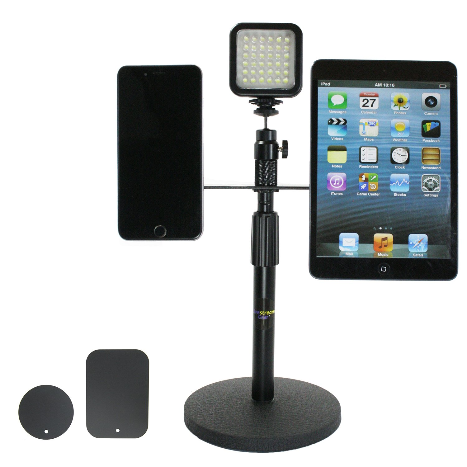 Livestream Gear - Dual Phone and LED Light Desktop Stand Setup with Magnetic Mount System. Mount 2 Phones via Magnets to This Weighted Desk Stand for Streaming with LED Lighting. Strong Hold.