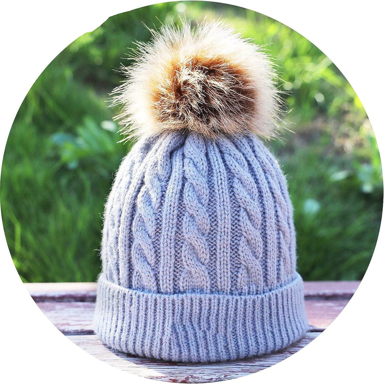 Skullies Beanies for Kids Fur Ball Cap Winter Hats Boys Girls Pompom Skullies