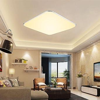 HG® 64W LED Deckenleuchte Schlafzimmerleuchte IP44 Badezimmer Geeignet  Warmweiß Lampe Licht Aus Aluminium