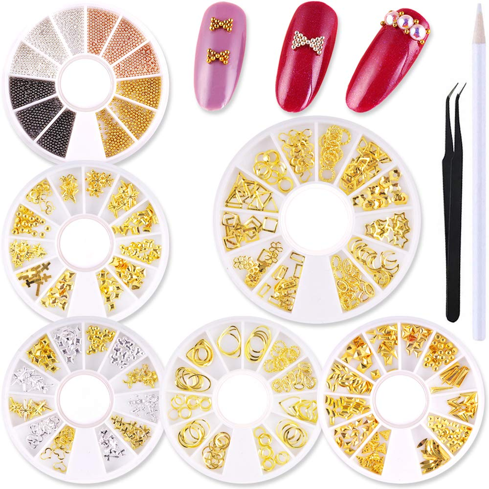WOKOTO 6 Pack Hollow Nail Art Studs Set Metal Nail Rivets Kit Mix-Color Nail Beads Cross Manicure Charm 3D Nail Jewelry Decoration With 1Pc Tweezers by WOKOTO
