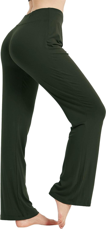 AWLE Womens Bootleg Yoga Pants High Waist Non See-Through Tummy Control Boot-Cut Flared Lounge Workout Pants