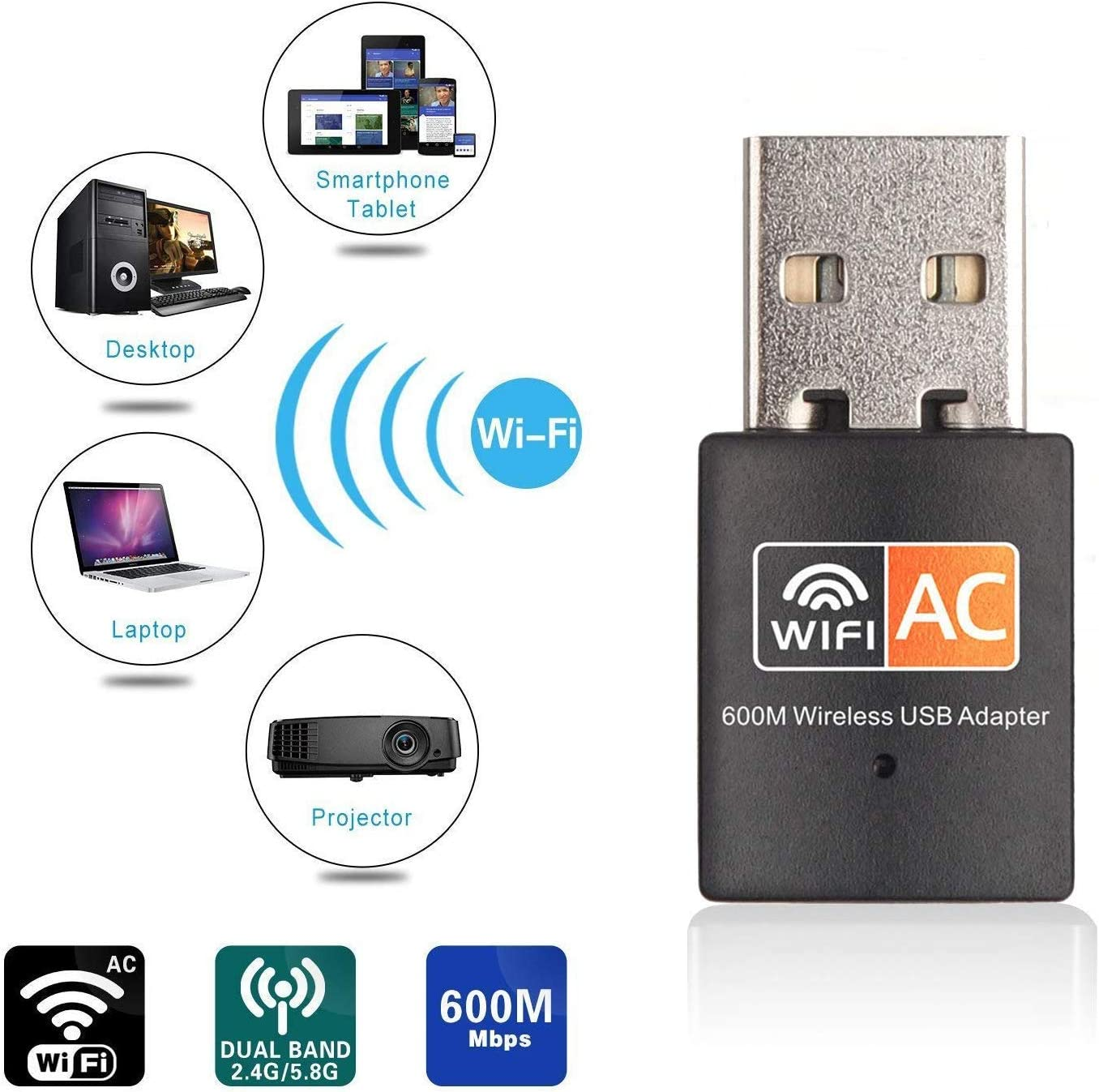 USB WiFi Adapter, AC600 Mbps Dual Band 2.4/5Ghz Wireless USB Mini WiFi Network Adapter 802.11 Mini Wireless for Laptop/Desktop/PC, Support Desktop Laptop MAC Book Windows Notebook