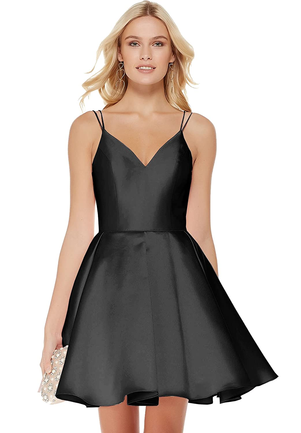 45c140bedb04 Beauty Bridal Junior's V Neck Homecoming Dress Satin Prom Dresses Short  2019 J91 at Amazon Women's Clothing store: