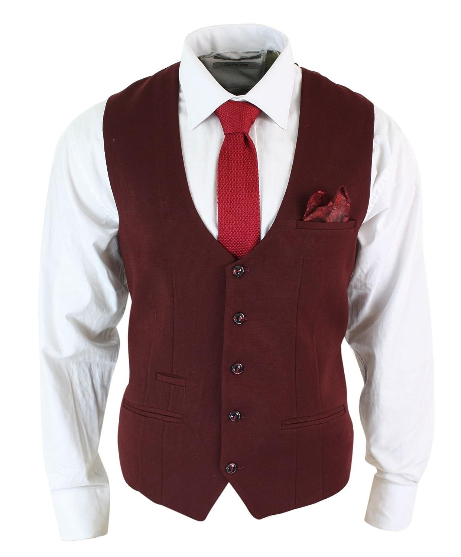Mens Slim Fit Burgundy Maroon Black Herringbone Tweed Vintage Retro Waistcoat marc darcy