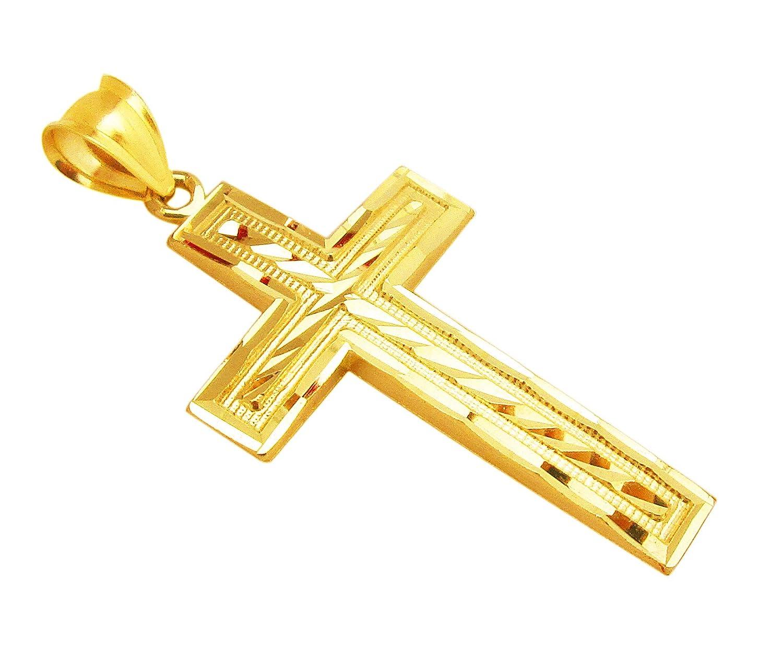 Amazon Mens 10k Yellow Gold Cross Pendant Diamond Cut Gold